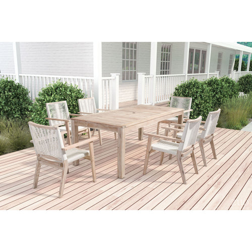 South Port Dining Set With Six Chairs - White Wash