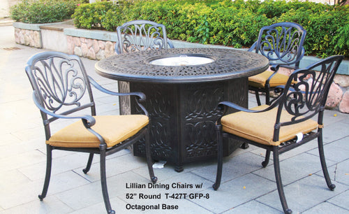 Round Gas Fire Pit Dining Table W/ Burner