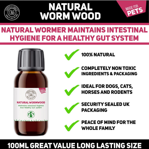 Pets Natural Worm Wood Solution For Intestinal Health No Nasty Chemicals - Powerful Colon Cleanse