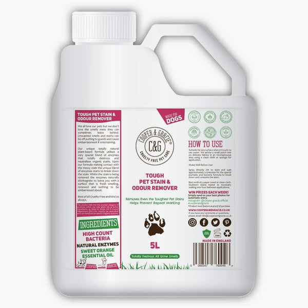 TOUGH PET STAIN URINE & ODOUR REMOVER - BEST ORGANIC NATURAL CAT & DOG FORMULA - HIGH COUNT BACTERIA NATURAL ENZYMES CLEANER - 500ML