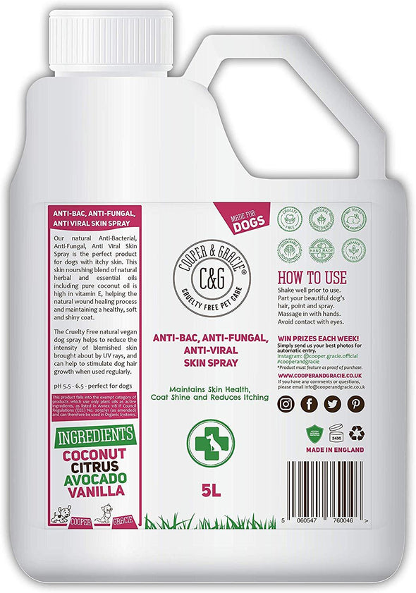 Anti-bacterial, Anti-fungal, Itchy Skin Spray For Dogs - Best Itchy Skin Soothing Aid