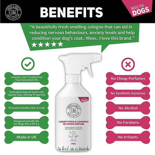 Dog Cologne De stress Perfume Spray 250ml Lasting Dogs Calming Grooming Calms Nervous Anxious Puppy