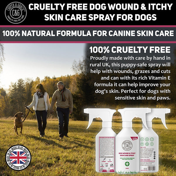 PURPLE WOUND SPRAY FOR DOGS - BEST ORGANIC NATURAL DISINFECTANT FOR ANIMAL SKIN CUTS AND WOUNDS FIRST AID - SUITABLE FOR ALL DOGS AND PUPPIES - 500ML