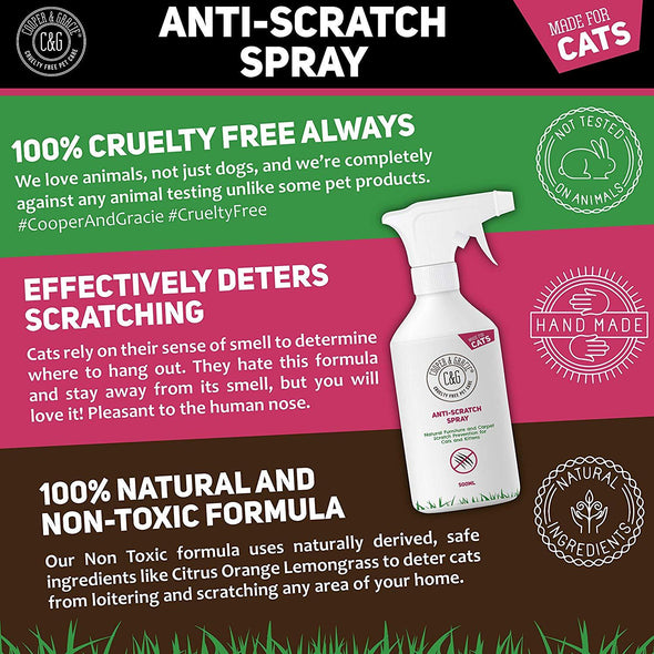 Cats‌ ‌Anti-Scratch‌ ‌Spray ‌Protects Furniture Promotes Calmer Cats Sweet Orange‌ 500ml