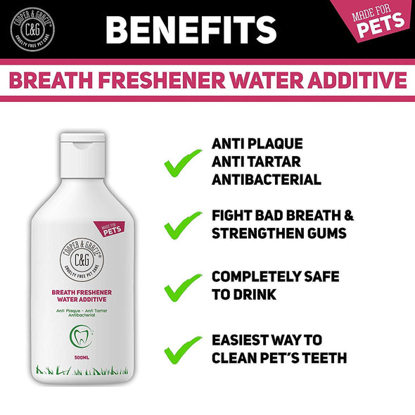 Breath Freshener Water Additive 500ml - Anti Plaque Anti Tartar - Removes Bad Smell - Fresh Smelling