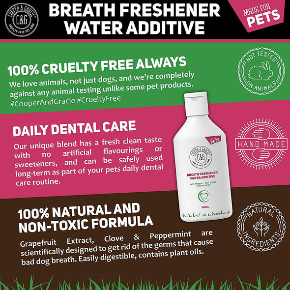 C&G Pets | BREATH FRESHENER WATER ADDITIVE 500ML | 100% NATURAL | ANTI PLAQUE ANTI TARTAR | REMOVES BAD SMELL | FRESH SMELLING MOUTH WASH | BEST FOR DOG AND CAT
