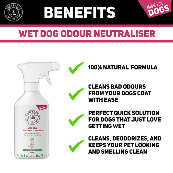Wet Dog Odour Neutraliser 500ml Waterless Ourdour Eliminator Rinse Free Deodoriser Spray