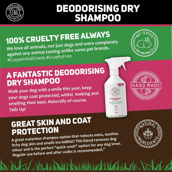 Dry Dog Shampoo Spray For Smelly Dogs - Wipe Clean Stain Remover - Cruelty Free Waterless Grooming Products - Luxury Organic Odour Deodoriser Neutraliser - Best Fox Poo Cleaning Animal Wash 500ml