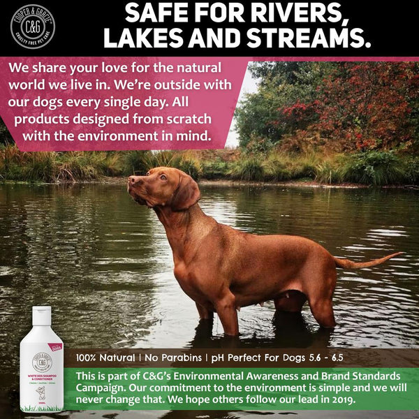 WHITE DOG SHAMPOO & CONDITIONER - BEST ORGANIC NATURAL HERBAL VIOLET URINE & TEAR STAIN REMOVER - SUITABLE FOR ALL DOGS AND PUPPIES - 500ML