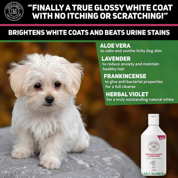 White Dog Shampoo Conditioner with Herbal Violet for Urine Stain Removal and Itchy Sensitive Skin - Medicated And 100% Puppy Safe - 500ml