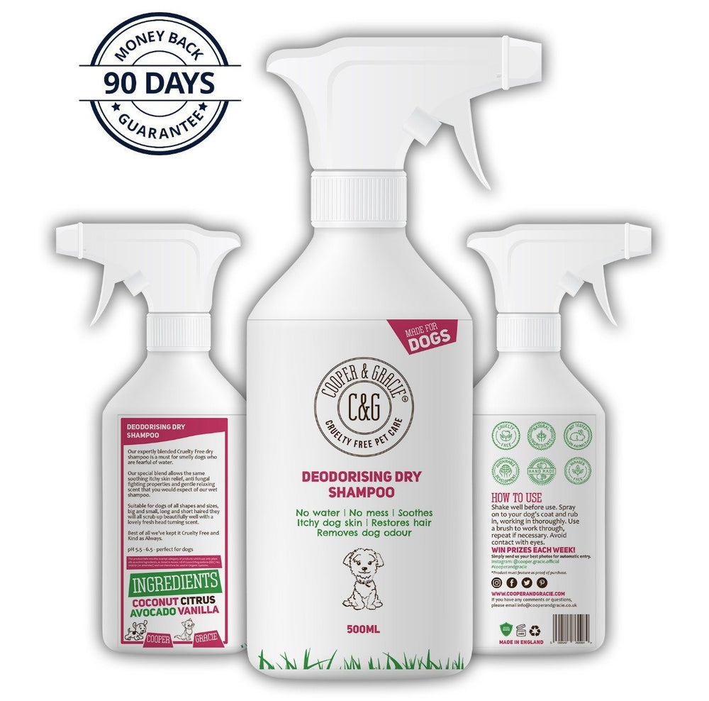DRY SHAMPOO SPRAY FOR DOGS - BEST NATURAL ORGANIC ODOUR NEUTRALISER FOR SMELLY DOGS - A CONVENIENT FAST ACTION FOX POO CLEANING WASH - SUITABLE FOR ALL DOGS AND PUPPIES - 500ML