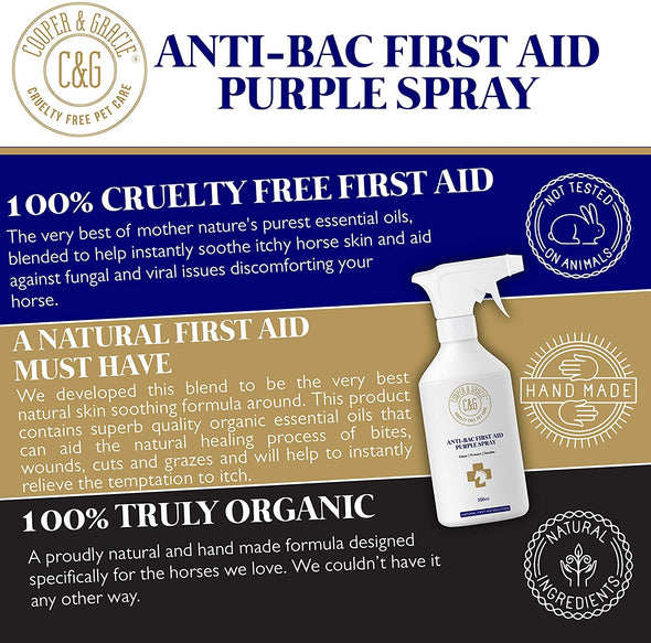 C&G Pets Horse Anti Bacterial Anti fungal Antiviral Purple Wound Spray (500 ML)