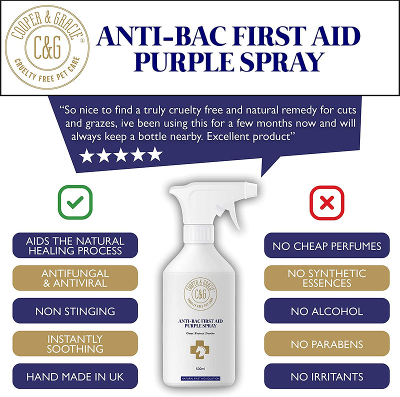 C&G Pets Horse Anti Bacterial Anti fungal Antiviral Purple Wound Spray (4545073053751)