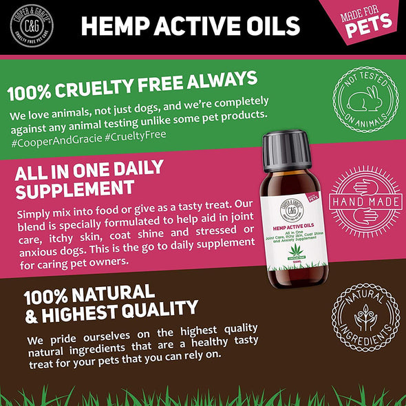 C&G PETS | PET HEMP JOINT OIL SUPPLEMENT 100ML | 100% NATURAL INGREDIENTS COLD PRESSED HEMP SEED OIL & TURMERIC BLEND | GREAT FOR ITCHY DOG SKIN CAT ANXIETY AND STRESS | SUPPORT OUTSTANDING COAT SHINE