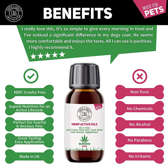 Hemp Active Oil Supplement | All-in-one joint care, itchy skin and anxiety aid with Turmeric | 100ml