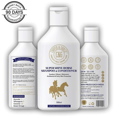 Super Shine Horse Shampoo & Conditioner Antibacterial Itchy Skin Protection Aids Coat Soothes 500 Ml