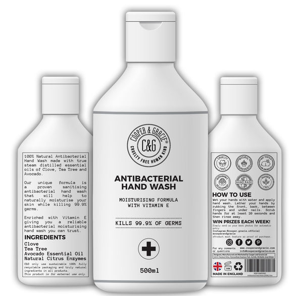 Antibacterial Hand Wash And Moisturizer 100% Natural Ingredients Kills 99.9% Of Germs Cruelty Free