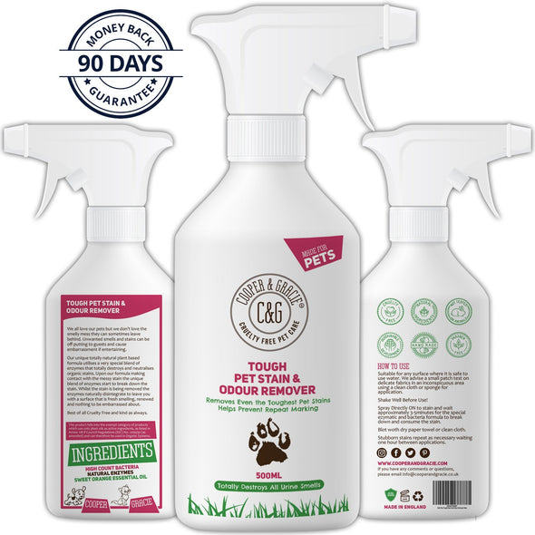 Tough Pet Stain Urine Odour Remover Best Organic Natural Cat Dog Formula Natural Enzymes Clean 500ml
