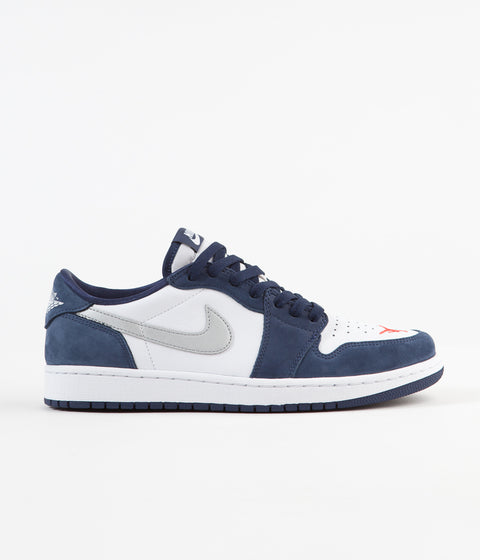 Nike SB x Air Jordan 1 Low Shoes - Midnight Navy / Metallic Silver - White