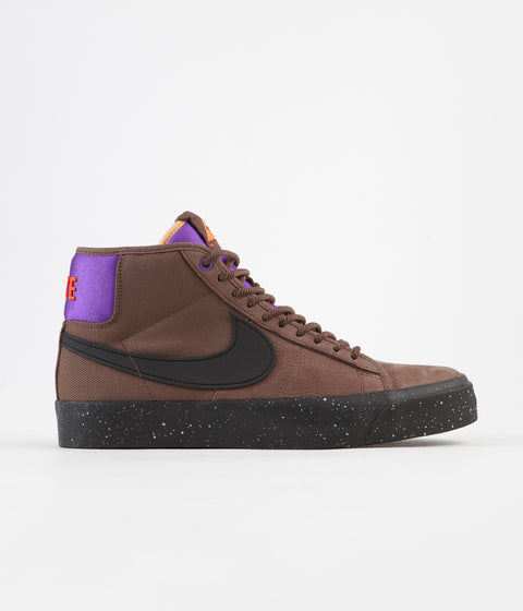 Nike SB Blazer Mid Pro GT QS Shoes - Trails End Brown / Black - Prism Violet