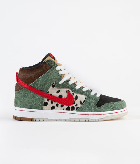 Nike SB Dunk High 'Dog Walker' Shoes - Fir / University Red - Black - White