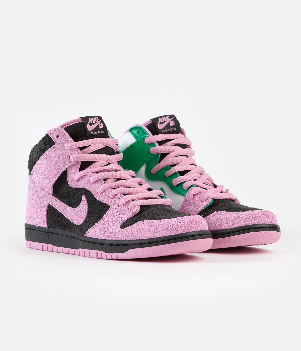 Nike SB Invert Dunk High Pro Premium Shoes - Black / Pink Rise - Lucky Green - White
