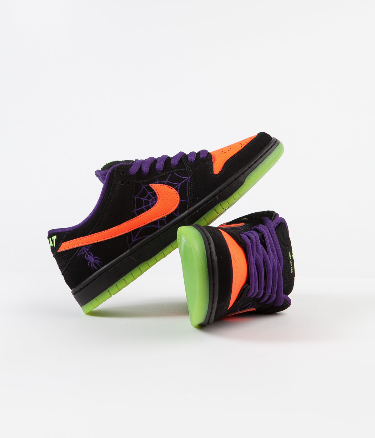 Nike SB Dunk Low Pro 'Night Of Mischief' Shoes - Black / Total Orange - Court Purple - Volt