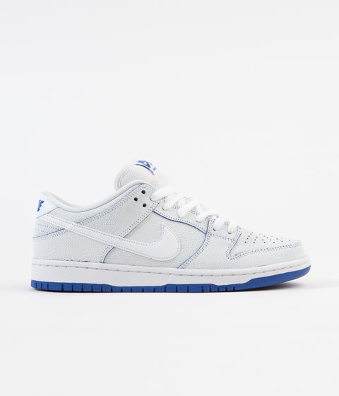 Nike SB Dunk Low Pro Premium Shoes - White / White - Game Royal