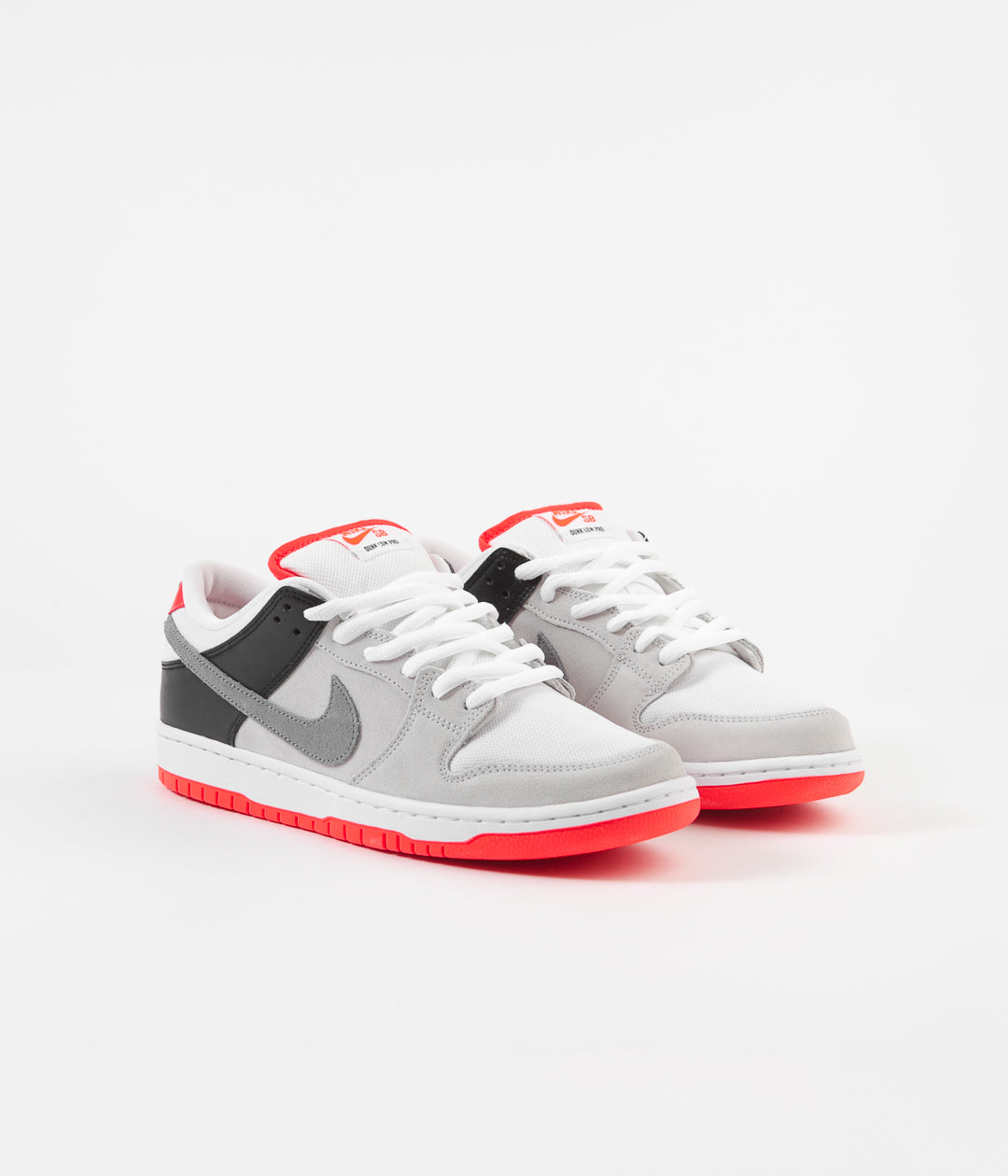 Nike SB Orange Label Dunk Low Pro Shoes - Neutral Grey / Cool Grey - Black - Infrared