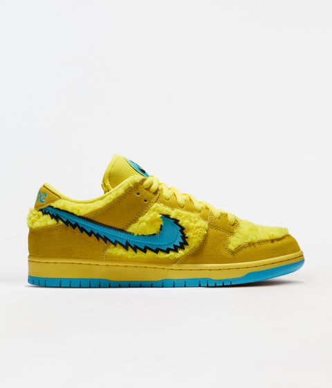 Nike SB Grateful Dead Dunk Low Pro Shoes - Opti Yellow / Blue Fury