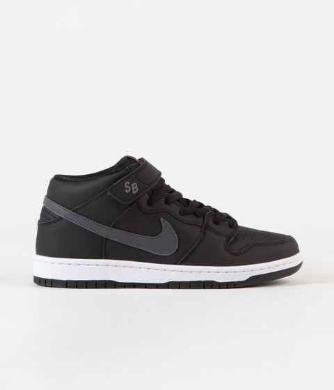 Nike SB Orange Label Dunk Mid Pro Shoes - Black / Dark Grey - Black - White
