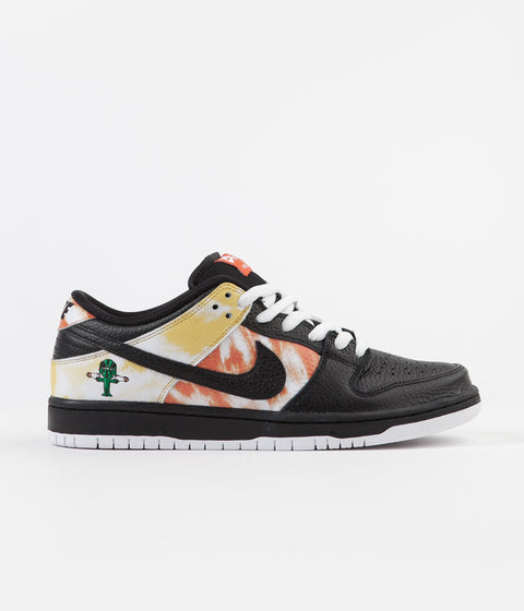 Nike SB 'Raygun Tie-Dye' Dunk Low Pro Shoes - Black / Black - Orange Flash