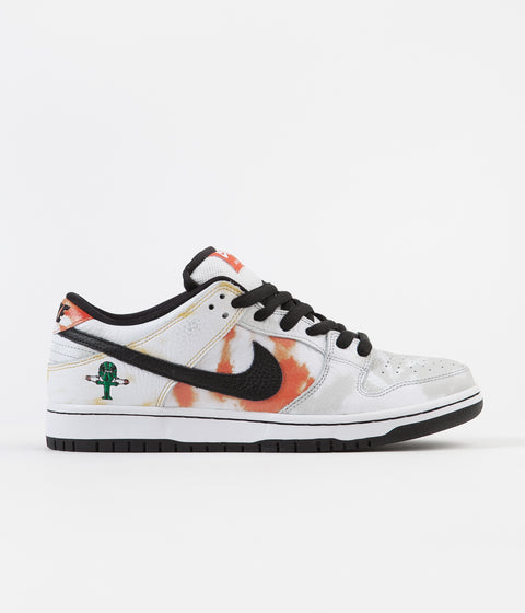 Nike SB 'Raygun Tie-Dye' Dunk Low Pro Shoes - White / Black - Orange Flash - Del Sol