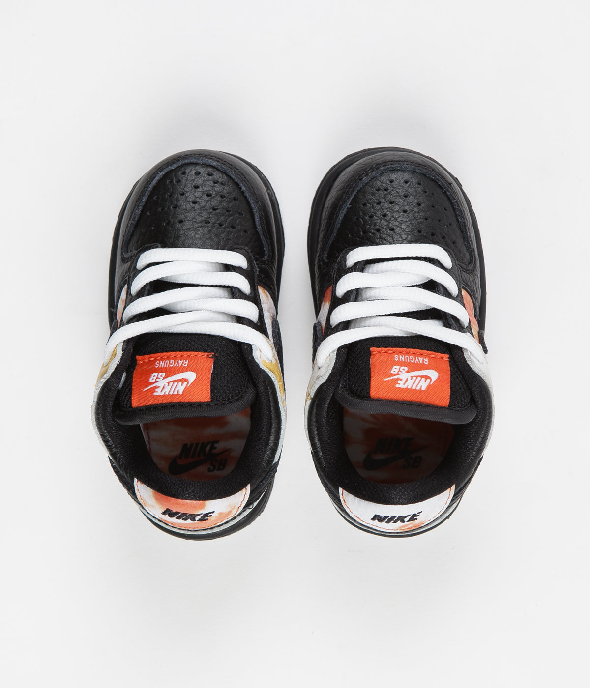 Nike SB 'Raygun Tie-Dye' Dunk Low Pro (Toddler) Shoes - Black / Black - Orange Flash