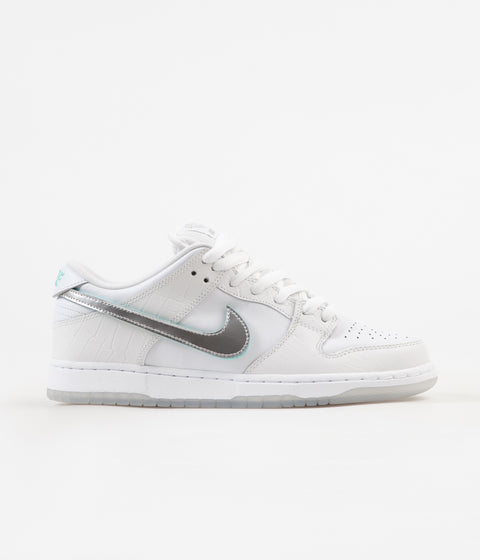 Nike SB x Diamond Dunk Low Pro OG Shoes - White / Chrome - White - Tropical Twist