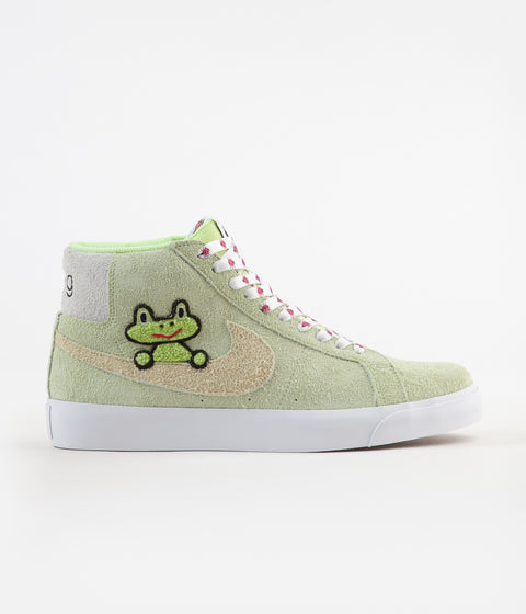 Nike SB x Frog Skateboards Blazer Mid Shoes - Light Liquid Lime / Lawn - White - Light Crimson
