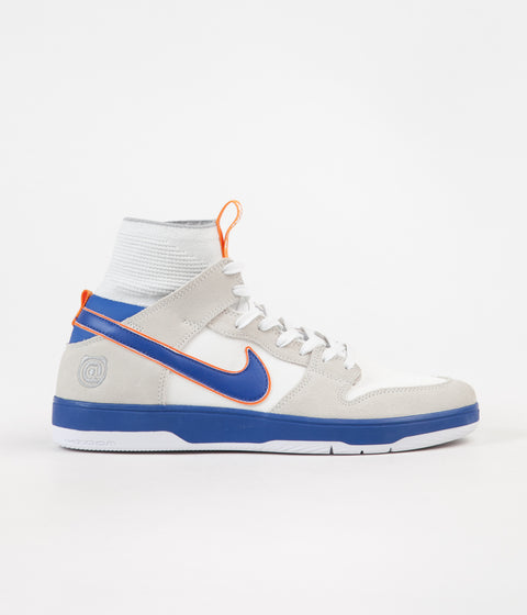 Nike SB x Medicom Dunk High Elite QS Shoes - White / College Blue - White - Gold Post