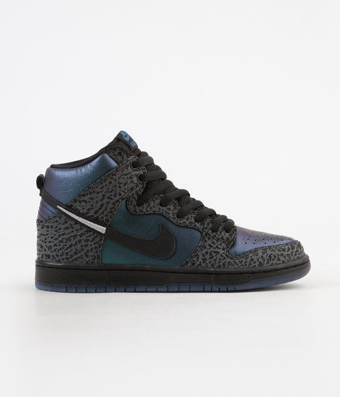 Nike SB x NBA Dunk High Pro 'Black Sheep' Shoes - Black / Black - Dark Grey - Metallic Silver
