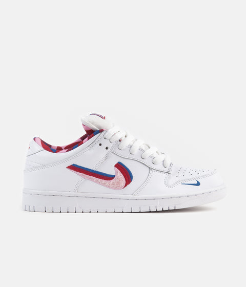 Nike SB x Parra Dunk Low OG Shoes - White / Pink Rise - Gym Red - Military Blue