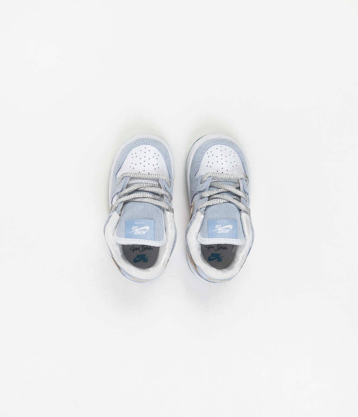 Nike SB x Sean Cliver Dunk Low Toddler Shoes - Psychic Blue / Metallic Gold - White