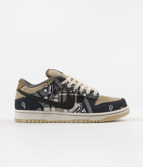 Nike SB x Travis Scott Dunk Low Premium Shoes - Black / Black - Parachute Beige - Petra Brown