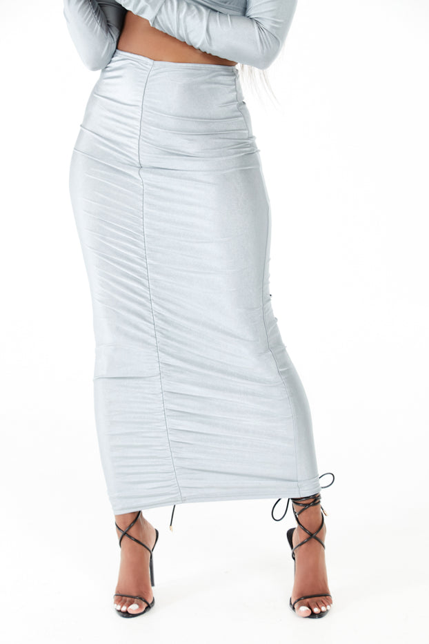 Silver Ruched Front Maxi Skirt Co-ord Set