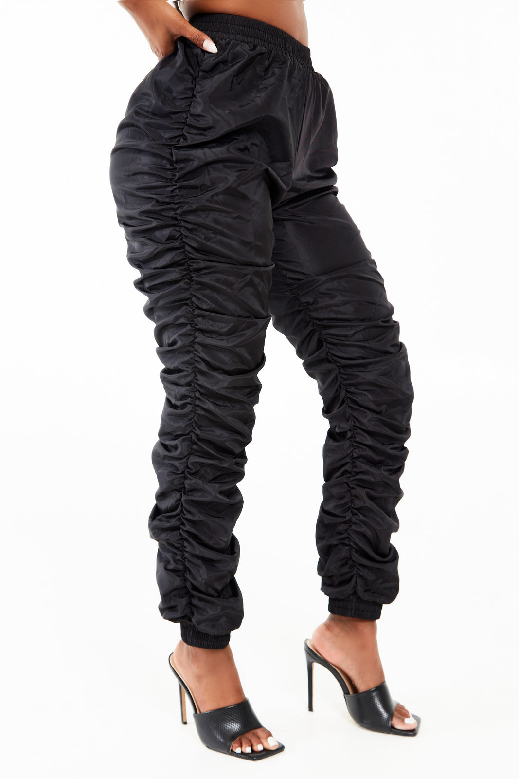 Black Ruched Jogger Pants