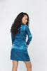 Blue Satin Split Long Sleeve Dress