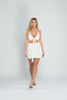 White Ruched Tie Front Bodycon Dress