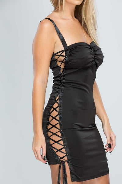 Black Satin Lace Up Bodycon Dress
