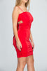 Red Tie Up Ruched Bodycon Dress