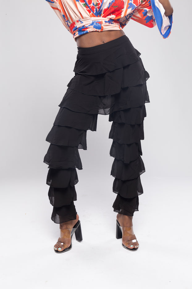 Black Tier Layered Ruffle Trouser Pants