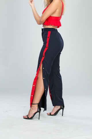 Red and Blue Contrast Striped Track Pants