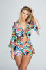Tropical Printed Ruffle Trimmed Shorts